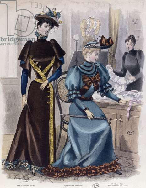 In the Lingerie Shop, 1892 (coloured engraving)