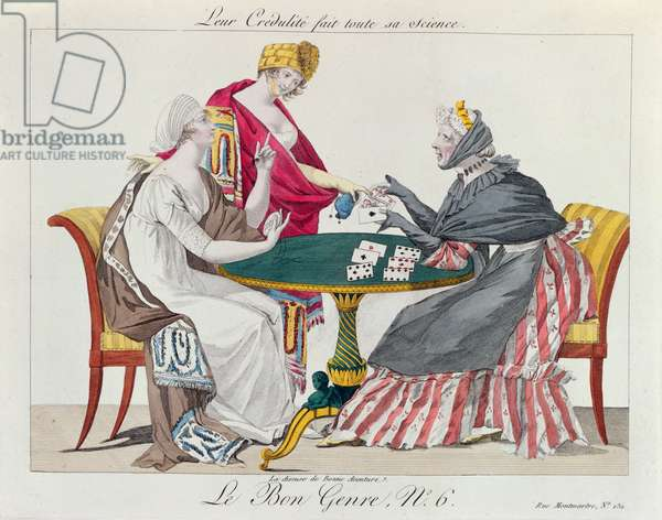 At the Fortune Teller, from 'le Bon Genre', 1800 (colour litho)