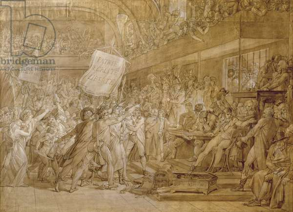 The People of Paris storm the Tuileries on 10 August, 1792 (pen & ink & wash on paper)