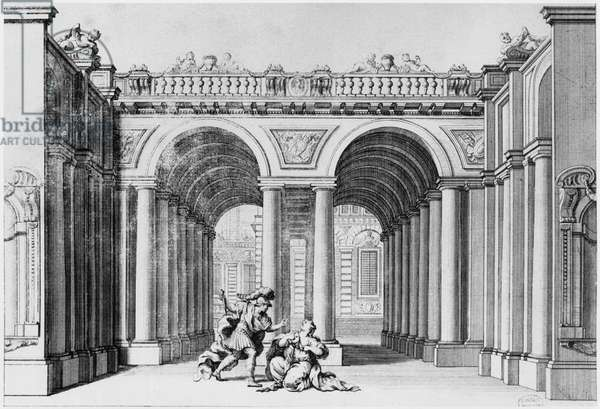 Set design for an unidentified play (litho) (b/w photo)