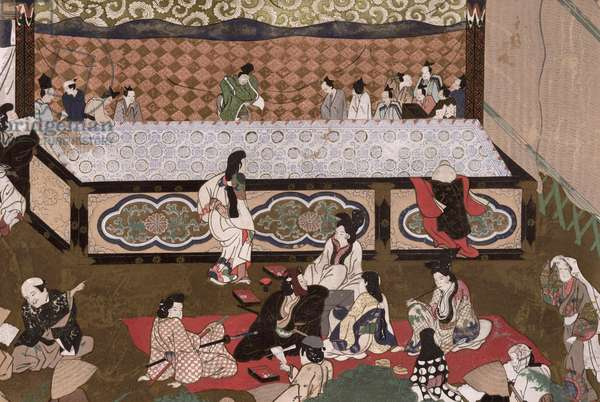 Kabuki theatre at a fair in Kyoto, illustration after a 17th painting from 'Kokka', November 1924 (colour litho)