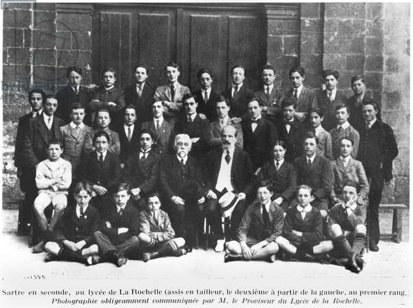Jean-Paul Sartre (1905-80) in the Fifth Form at the Lycee, La Rochelle, c. 1921 from 'L'Homme Sartre' by Marc Beigbeder, published by Bordas in 1947 (b/w photo)