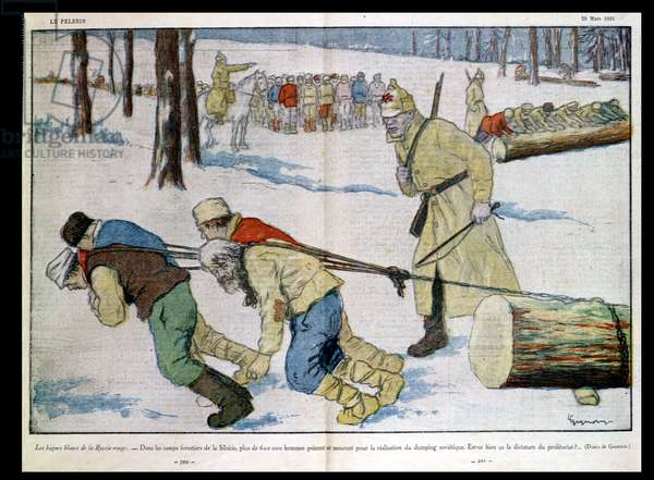 The Siberian Gulag, caricature from 'Le Pelerin', 1931 (colour litho)