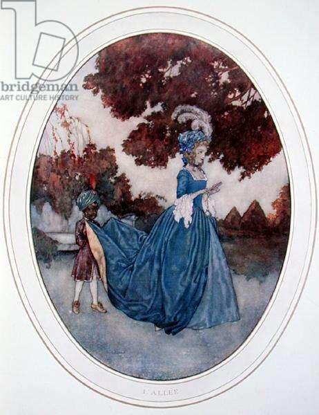 The Path, illustration for 'Les Fetes Galantes' by Paul Verlaine (1844-96), 1910 (colour litho)