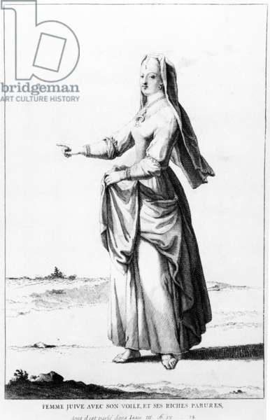 French Jewish woman with her veil and her rich ornaments, illustration from Dictionnaire Historique de la Bible, 1722 (engraving)