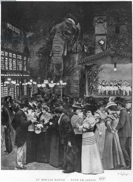 At the Moulin Rouge, Paris, early 20th century (b/w photo)