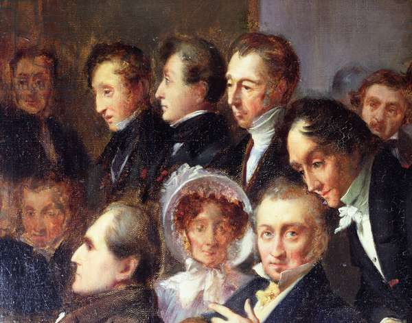 Lecture in the Foyer of the Comedie Francaise, 26 May 1828, c.1830 (oil on canvas) (detail)