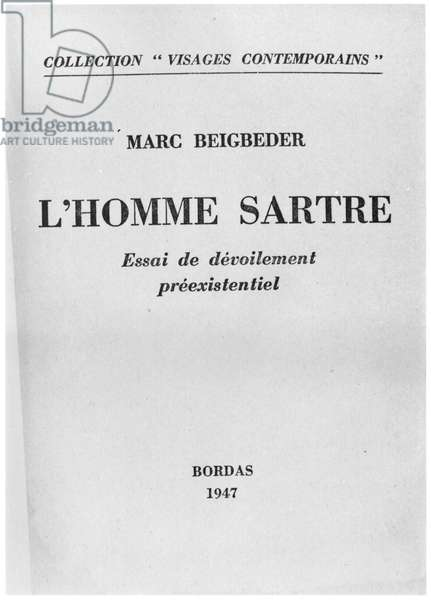 Front Cover of 'L'Homme Sartre' by Marc Beigbeder, published by Bordas 1947 (b/w photo)