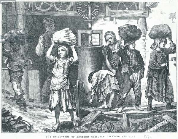 The Brickyards of England, Children carrying the clay, 1871 (engraving) (b/w photo)