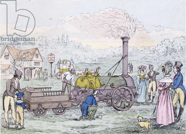 Locomotive Engine, the 'Rocket' in 1830, built by George Stephenson (1781-1848) (aquatint)