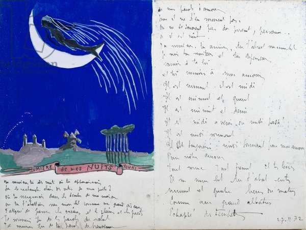 Light of my Nights, illustrated handwritten poem, 27th November 1932 (gouache on paper)