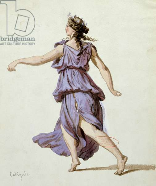 Night hour, costume design for the first production of 'Caligula' by Alexandre Dumas (1802-70) at the Comedie Francaise, December 1837 (gouache on paper)