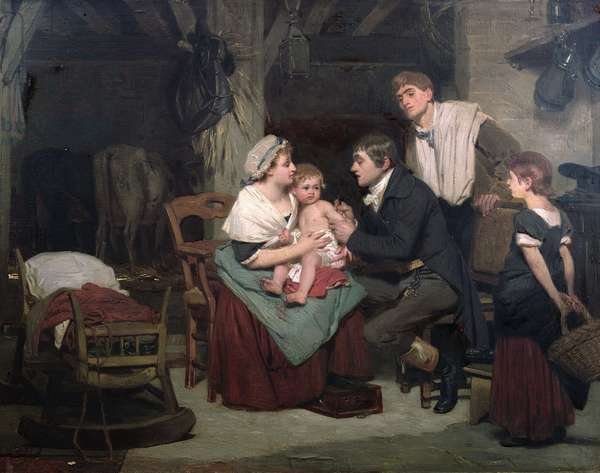 Vaccination against smallpox, c.1800 (oil on canvas)