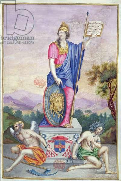 Frontispiece allegorical illustration of the goddess Minerva from 'Les Panegyriques des Hommes Illustres de Notre Siecle' by Puget de la Serre, 1655 (vellum)