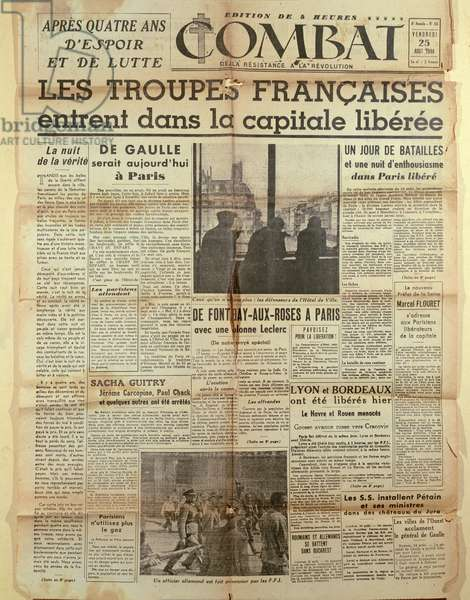 Front page of the Gaullist newspaper, 'Combat': Liberation of Paris, 25th August 1944 (print)