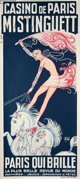 Poster advertising Mistinguett (1875-1956) at the Casino de Paris, 1925 (colour litho)