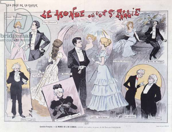 Poster advertising the satirical comedy 'Le Monde ou L'on S'Ennuie' by Edouard Pailleron at the Comedie-Francaise, 1898 (colour litho)