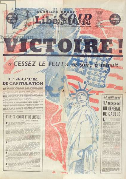 Victory issue of 'Liberation Soir' newspaper, 8th May 1945 (colour litho)