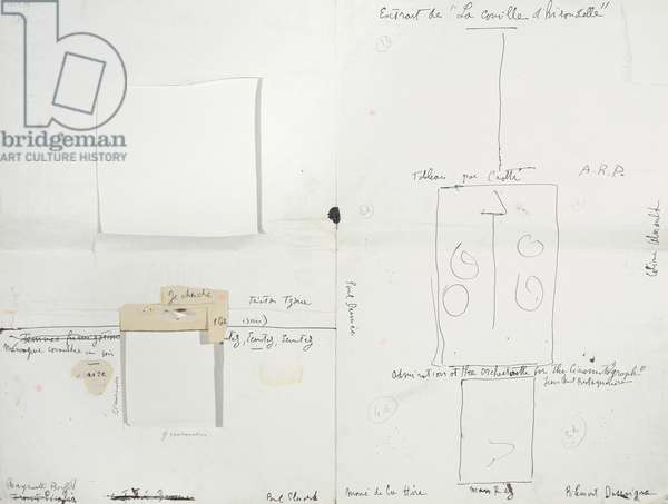 Layout for the Dada bulletin '391', number 14, containing a copy of Ingres' signature, 1920 (pen and ink on paper) (see also 163077)