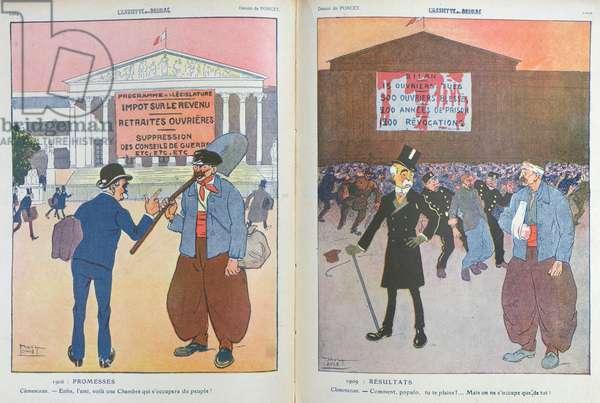 Caricature from 'L'Assiette au Beurre' magazine critical of Georges Clemenceau (1841-1929), 1909 (colour litho)
