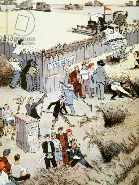 Caricature of agriculture, from 'Krokodil' magazine, 1950 (colour litho)