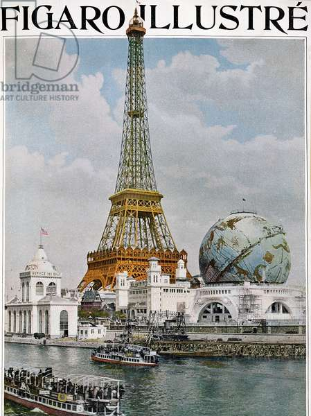 View of the Eiffel Tower and the Celestial Globe seen from the Seine, from 'Figaro Illustre', 1900 (photogravure)