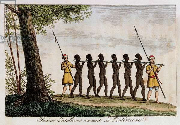 A Group of Slaves, being led to the West African Coast by Traders, from 'L'Afrique' by R. Geoffroy, 1814 (colour engraving)