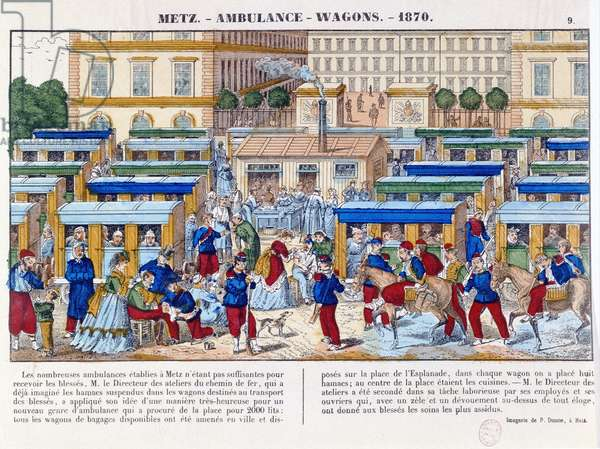 Ambulance train at Metz during the Franco-Prussian War of 1870, c.1870-71 (coloured engraving)