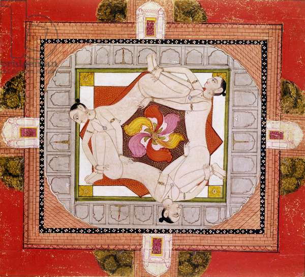 Tantric miniature depicting three women forming a chain (w/c on paper)