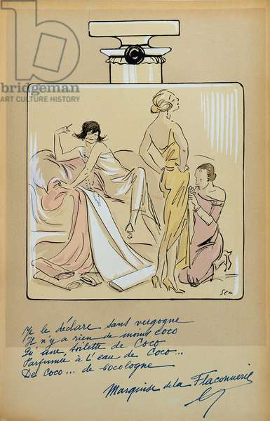 Caricature of Coco Chanel (1883-1971) in a bottle of Chanel No.5, from 'Le Nouvel Monde', 1923 (colour litho)