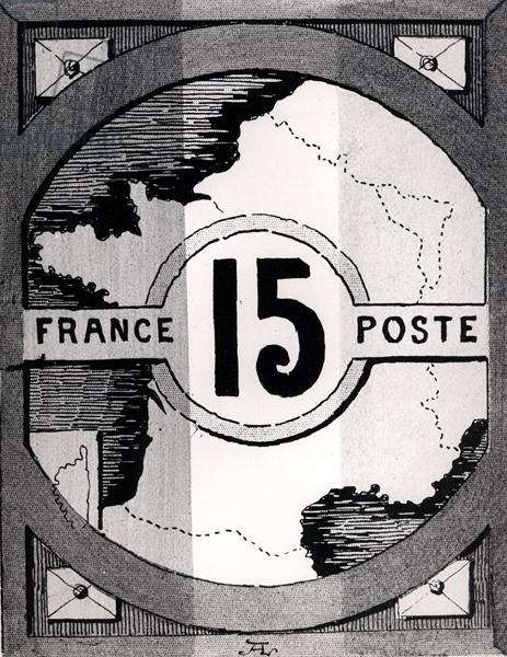Postage stamp depicting a map of France, late 19th century (litho) (b/w photo)
