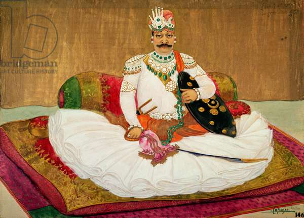 Portrait of Maharajah Ishwari Singh of Bundi (1893-1945) 1925 (w/c and gouache on paper)