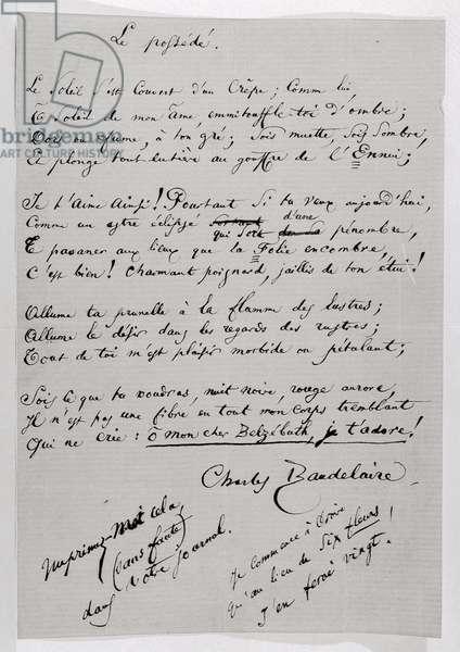'Le Possede' autograph poem (pen & ink on paper)