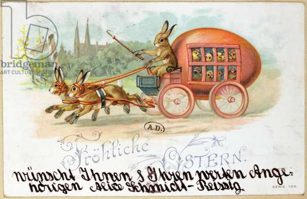 Easter card depicting an egg-shaped carriage with rabbits and chickens, before 1914 (colour litho)