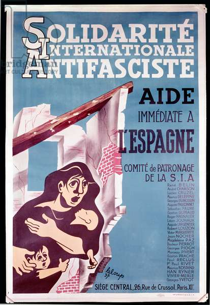 Immediate Help for Spain, Poster from 'Solidarite Internationale Antifasciste' 1937 (colour litho)
