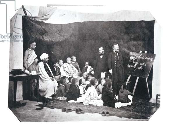 French school in Algeria, c.1860 (b/w photo) (see also 438857)