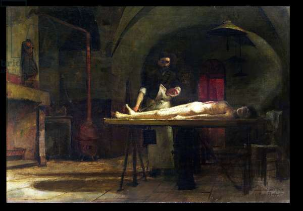 Dissection scene (oil on canvas)