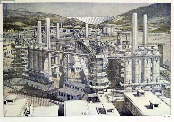 Smelting furnaces, designed by Tony Garnier (1869-1948) from 'La Cite Industrielle', 1917 (colour litho)