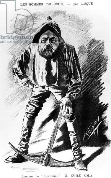 Caricature of Emile Zola (1840-1902) as a miner, 1885 (engraving) (b/w photo)