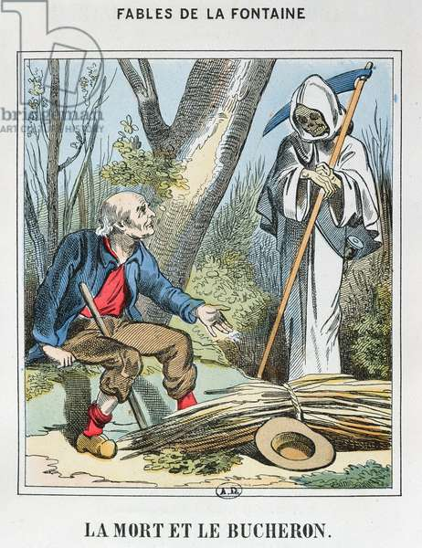 Death and the Woodman (coloured engraving)