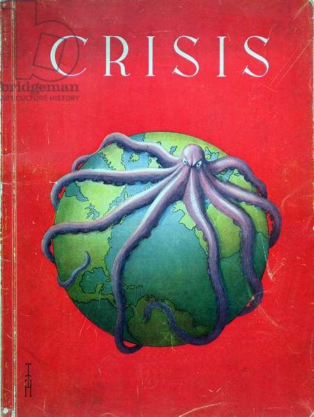 The Octopus of Crisis, cover of a brochure relating to the crisis caused by the reparations imposed on Germany by the Treaty of Versailles (1918), Hamburg 1931 (colour litho)