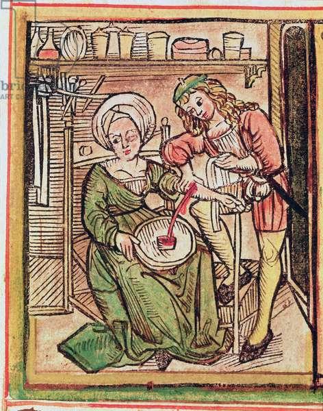 Blood letting, from 'Tractatus de Pestilencia' (vellum)