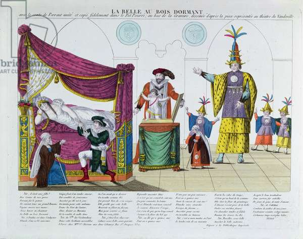 Performance of 'The Sleeping Beauty' after the fairy tale by Charles Perrault (1628-1703), at the Vaudeville Theatre, Paris, c.1820 (colour engraving)