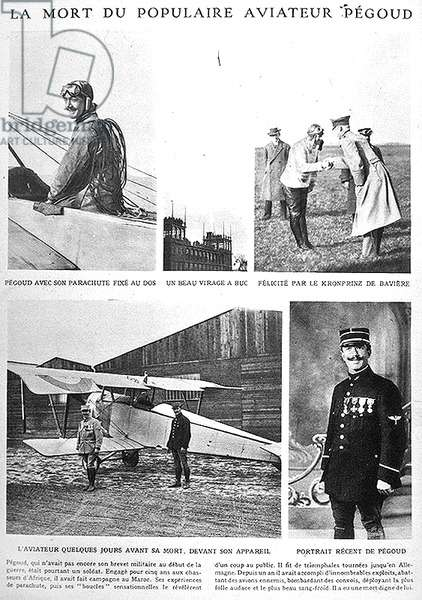 Announcement of the death of the popular aviator, Adolphe Pegoud, in the French newspaper 'Le Miroir', September 1915 (printed paper)