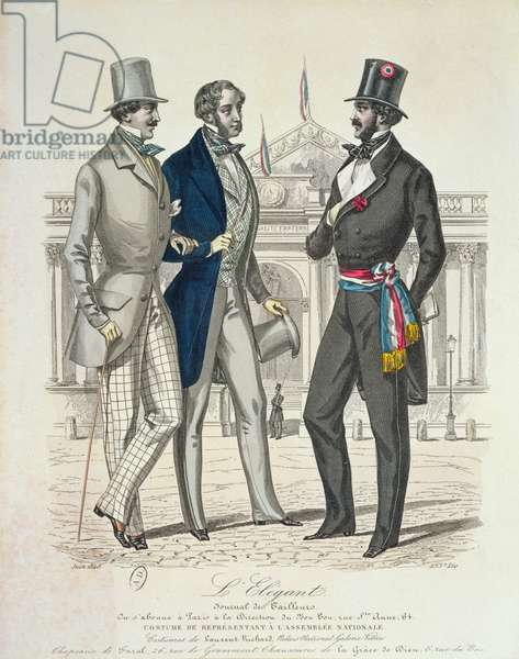 Costume of the Député, with the old National Assembly in the background, 1848 (colour litho)