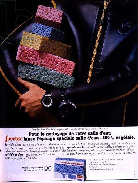 Advertisement for the 'Spontex Sponge', from 'La Maison de Marie-Claire', May 1968 (colour litho)