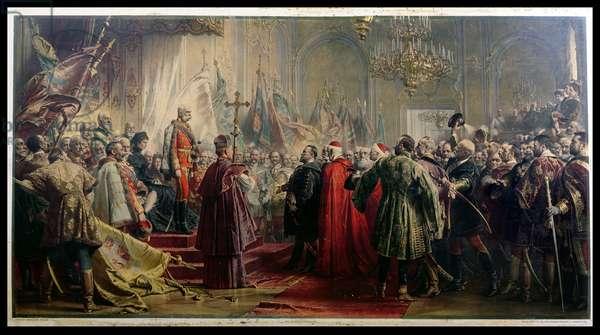 Emperor Franz Joseph I (1830-1916) and Empress Elizabeth (1837-98) in Budapest, 8th July 1896 (colour litho)