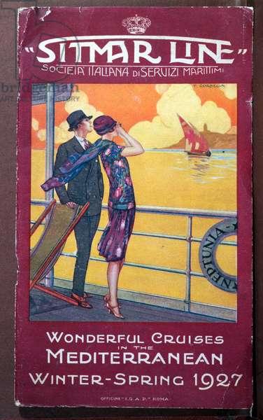 Front cover of a brochure for the 'Sitmar Line' operated by the 'Societa Italiana di Servizi Maritimi', 1927 (colour litho)