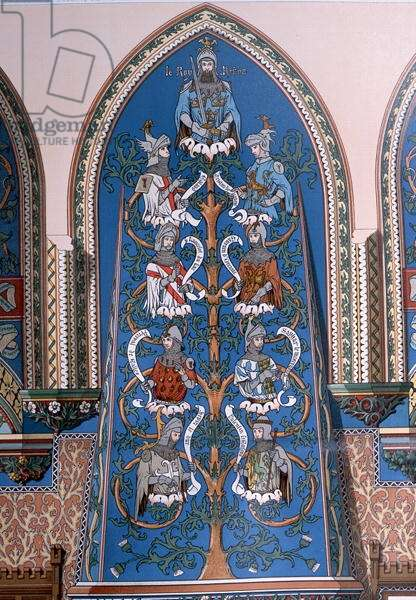 'King Arthur and the Knights of the Round Table', fresco design for the Chateau de Pierrefonds (colour litho)