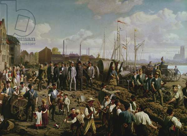 Laying the telegraph cable between Cologne and Berlin at the end of the 19th century (oil on canvas)